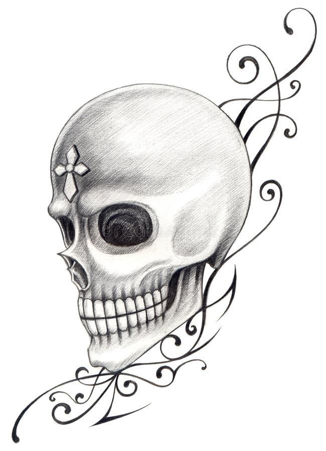 Download Tatuaggio Trasversale Di Arte Del Cranio Illustrazione di Stock - Illustrazione di illustrazione, cuore: 55355016