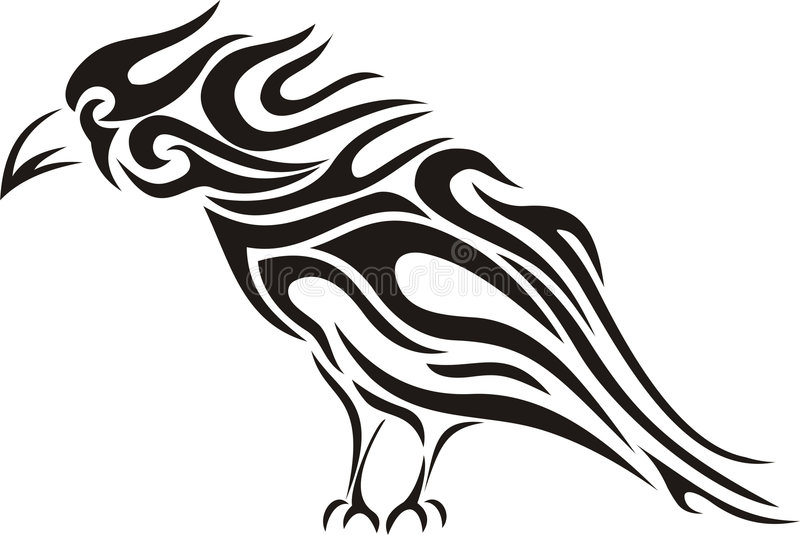 Tatuaggio tribale del corvo illustrazione di stock
