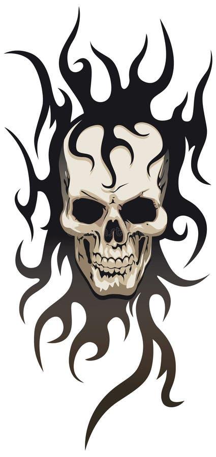 Tatuaggio tribale del cranio illustrazione vettoriale