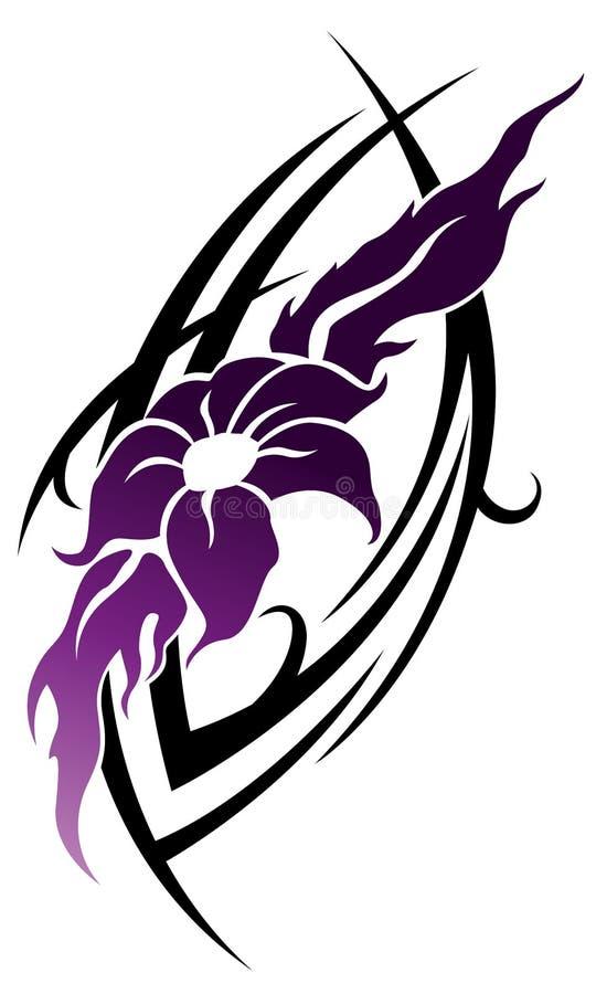 Tatuaggio tribale del fiore lilla di fantasia illustrazione di stock