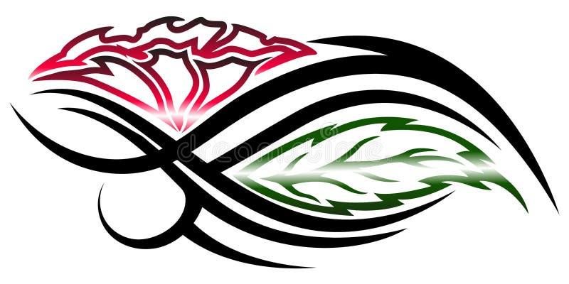 Tatuaggio tribale del fiore su fondo bianco illustrazione di stock
