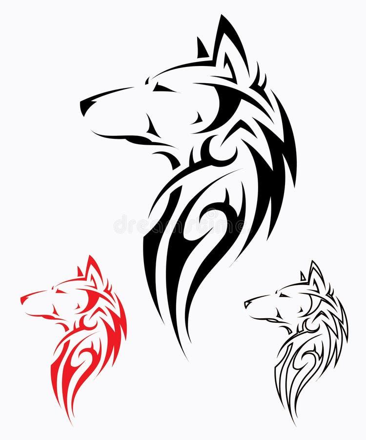 Tatuaggio tribale del lupo illustrazione di stock