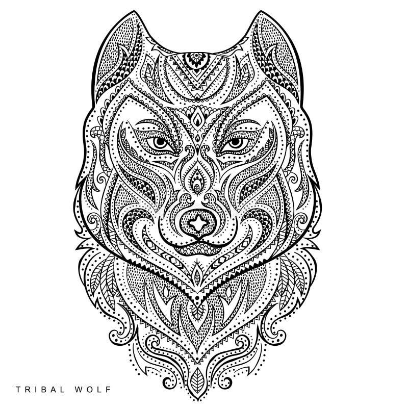 Tatuaggio tribale del totem del lupo di stile di vettore royalty illustrazione gratis