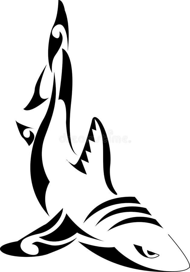 Tatuaggio tribale dello squalo illustrazione vettoriale