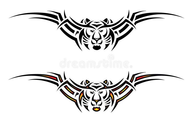 Tatuaggio tribale isolato della tigre illustrazione vettoriale