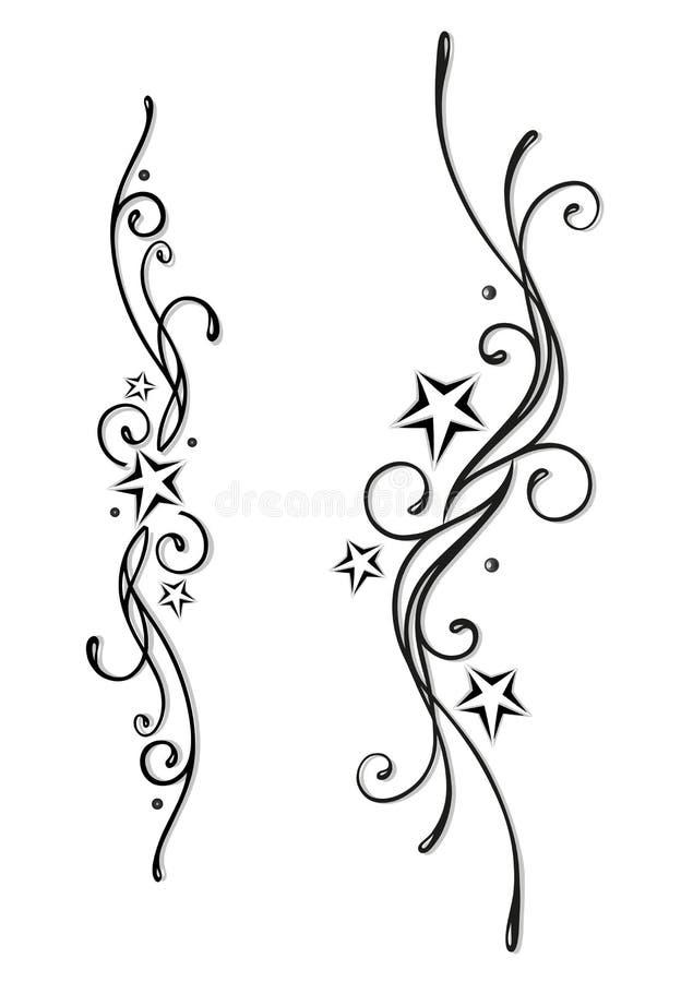 Tatuaggio, tribale, stelle illustrazione vettoriale