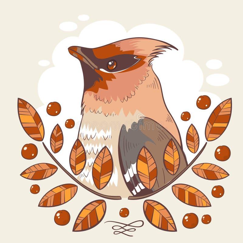 Tatuaggio variopinto dell'uccello della cera con la cenere di montagna illustrazione vettoriale