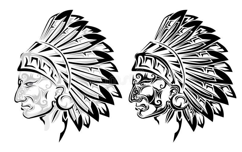 Tatuaje americano del jefe indio ilustración del vector