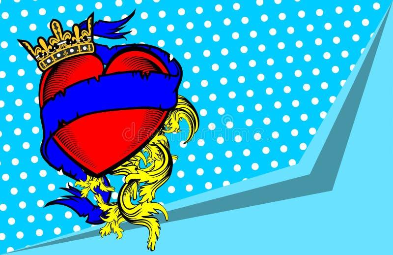 Tatuaje background2 de la cinta del corazón de la corona stock de ilustración