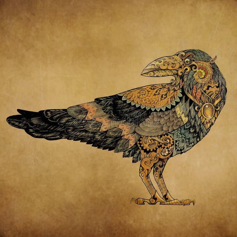 Tatuaje, cuervo del dotwork en el estilo del steampunk ilustración del vector