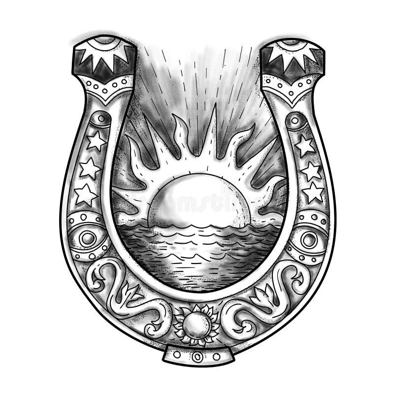 Tatuaje de herradura de Sun y del mar ilustración del vector