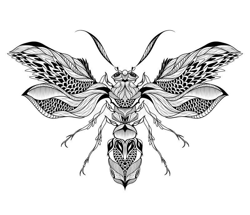 Tatuaje de la abeja/de la avispa psicodélico, estilo del zentangle ilustración del vector