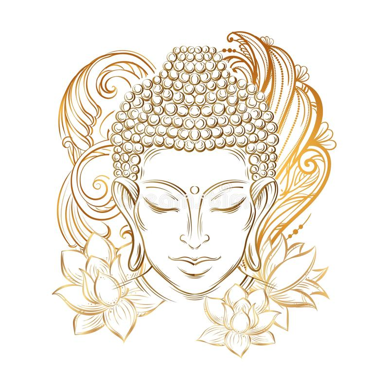 Tatuaje de la cabeza del ` s de Buda stock de ilustración