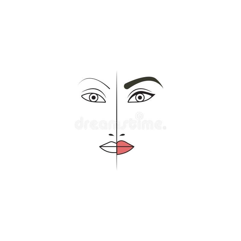 Tatuaje de la ceja, del ojo y del labio stock de ilustración