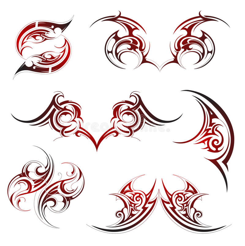 Tatuaje de la llama del fuego ilustración del vector