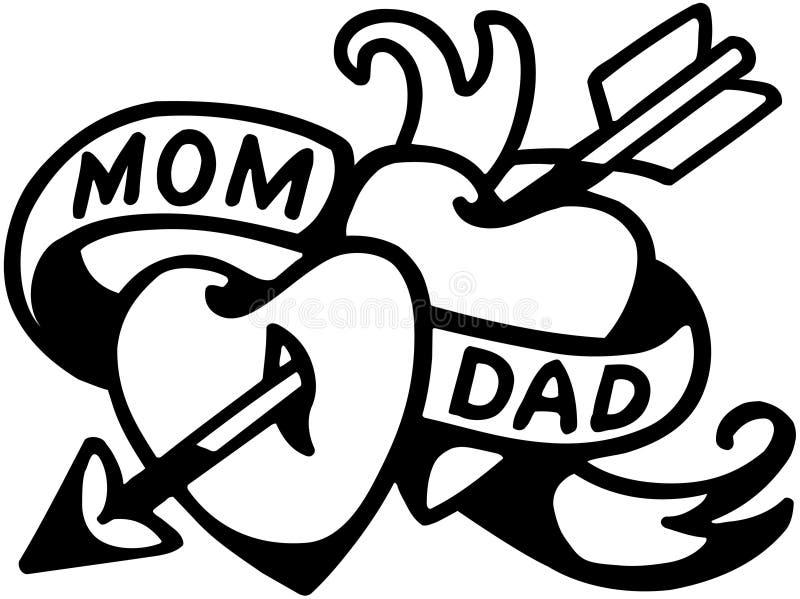 Tatuaje de la mamá y del papá libre illustration