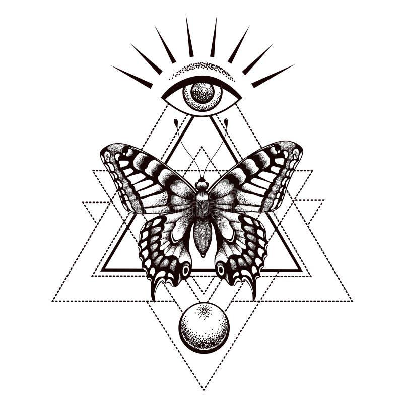 Tatuaje de la mariposa y diseño sacros de la camiseta La mariposa en triángulo, en la parte superior todo-está viendo el ojo de H ilustración del vector