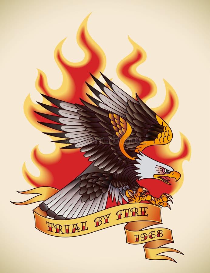 Tatuaje de la viejo-escuela de Eagle stock de ilustración