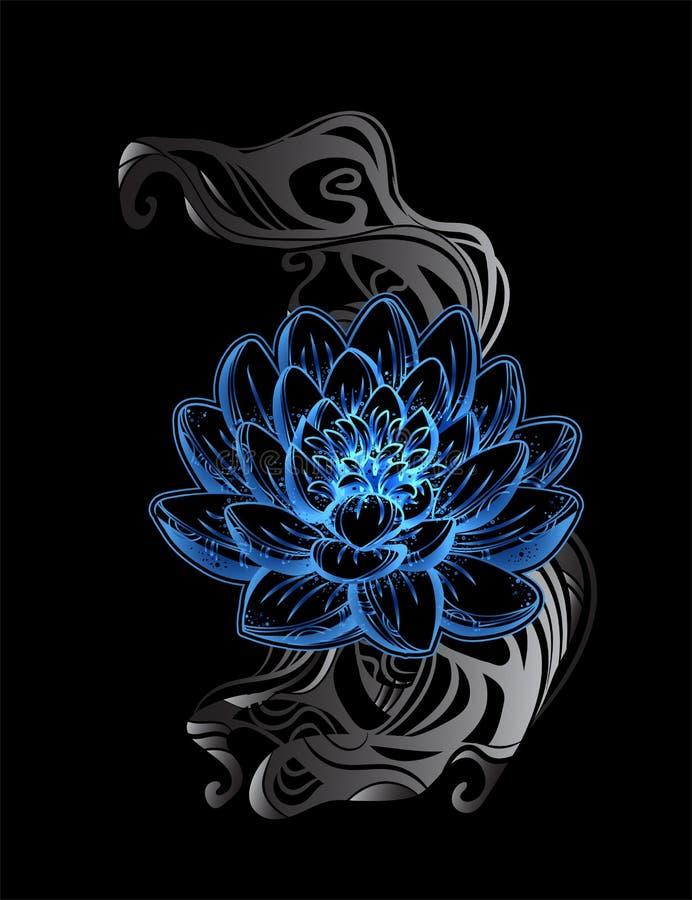 Tatuaje de Lotos ilustración del vector