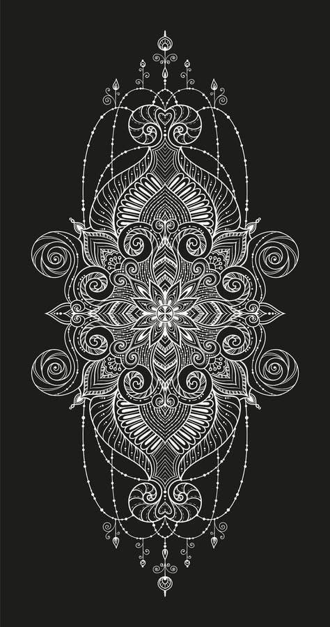 Tatuaje de Mandala Vector Tarjeta perfecta para cualquier otra clase del diseño, del cumpleaños y del otro día de fiesta, caleido ilustración del vector