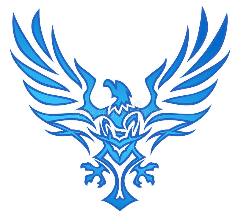 Tatuaje del águila de la llama azul ilustración del vector