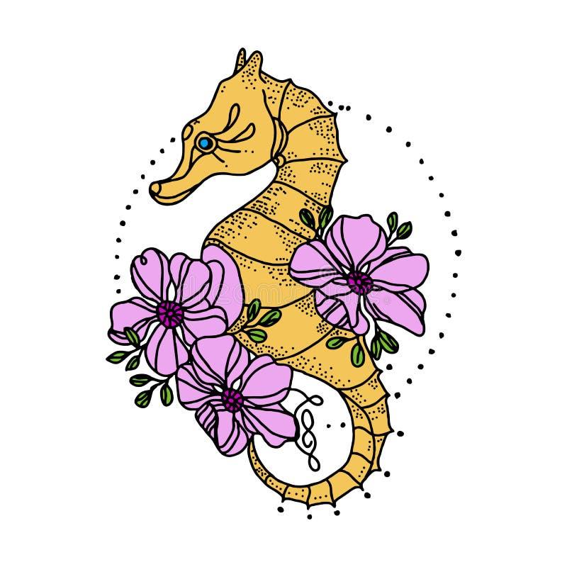 Tatuaje del caballo de mar y símbolo del diseño de la camiseta del viaje libre illustration