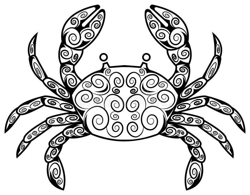 Tatuaje del cangrejo ilustración del vector. Ilustración de diseño ...
