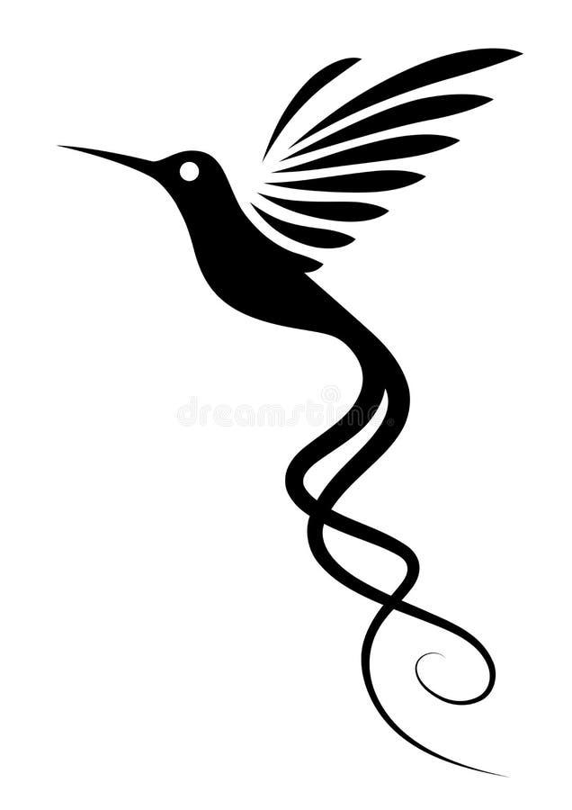 Tatuaje del colibrí stock de ilustración