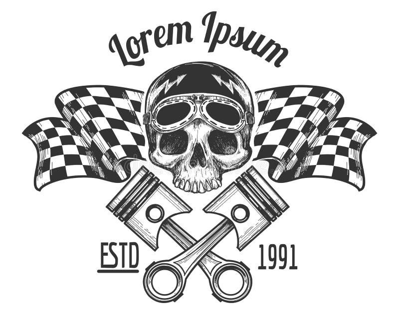 Tatuaje del cráneo del jinete del motorista del vintage ilustración del vector