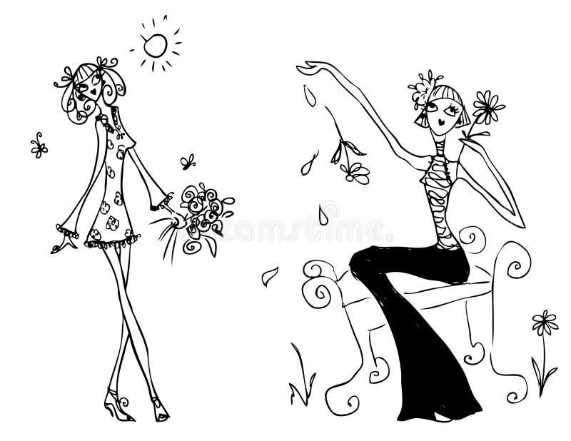 Tatuaje del doodley del icono de la mujer de la manera stock de ilustración