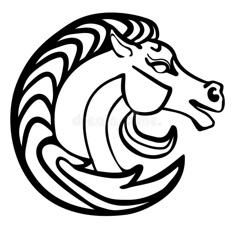 Tatuaje del logotipo de la cabeza de caballo del ejemplo del vector blanco y negro stock de ilustración