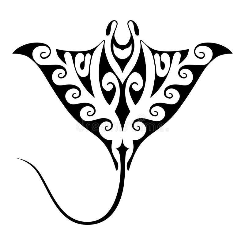 Tatuaje del rayo de Manta stock de ilustración