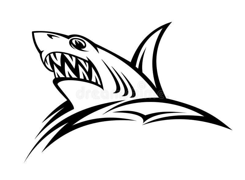 Tatuaje del tiburón del peligro ilustración del vector
