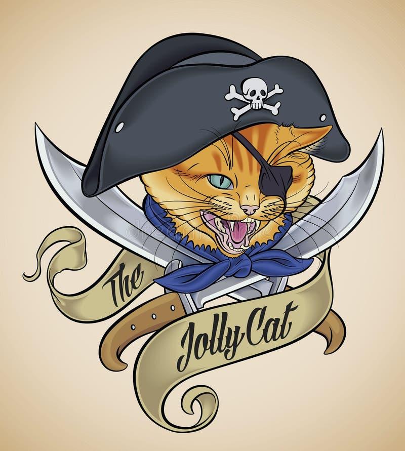 Tatuaje del vintage de Jolly Cat ilustración del vector