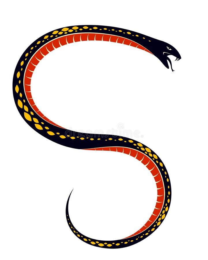 Tatuaje del vintage de la serpiente venenosa, dibujo del vector del reptil despredador agresivo, símbolo envenenado mortal de la  libre illustration