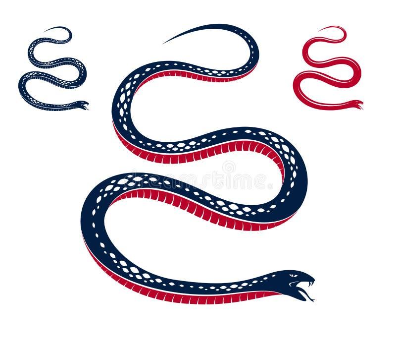 Tatuaje del vintage de la serpiente venenosa, dibujo del vector del reptil despredador agresivo, s?mbolo envenenado mortal de la  stock de ilustración