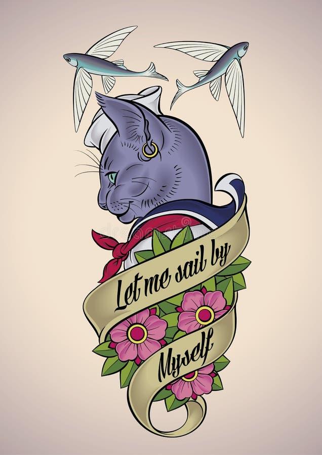 Tatuaje del vintage de un gato-marinero stock de ilustración