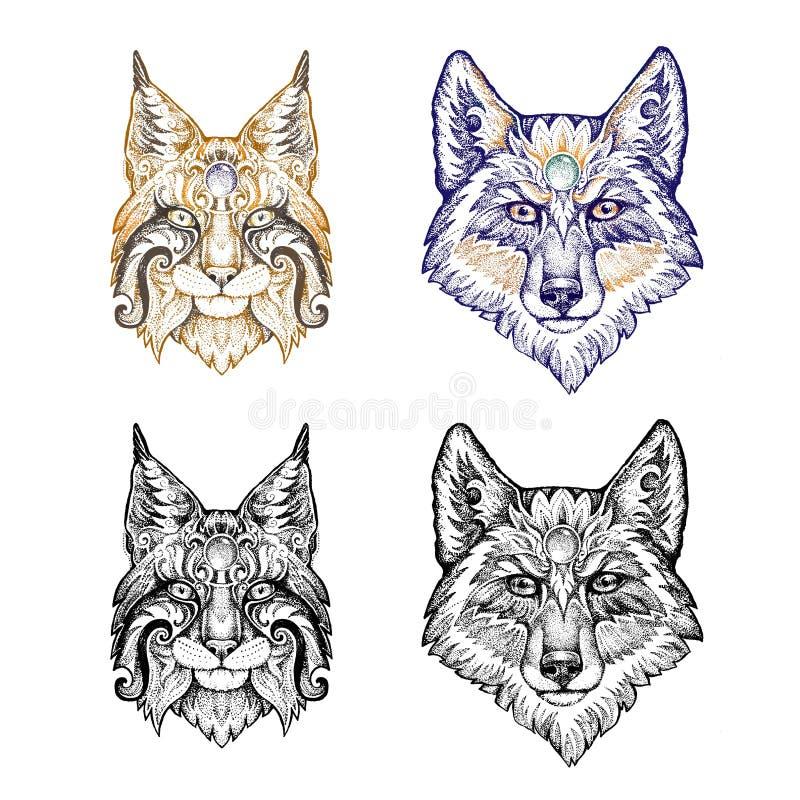 Tatuaje, dotwork Lobo y lince stock de ilustración