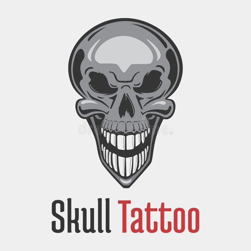 Tatuaje esquelético sonriente ancho del cráneo que muestra sus dientes Muerto y mal, aterrorizante y temible, asustadizo y fantas ilustración del vector