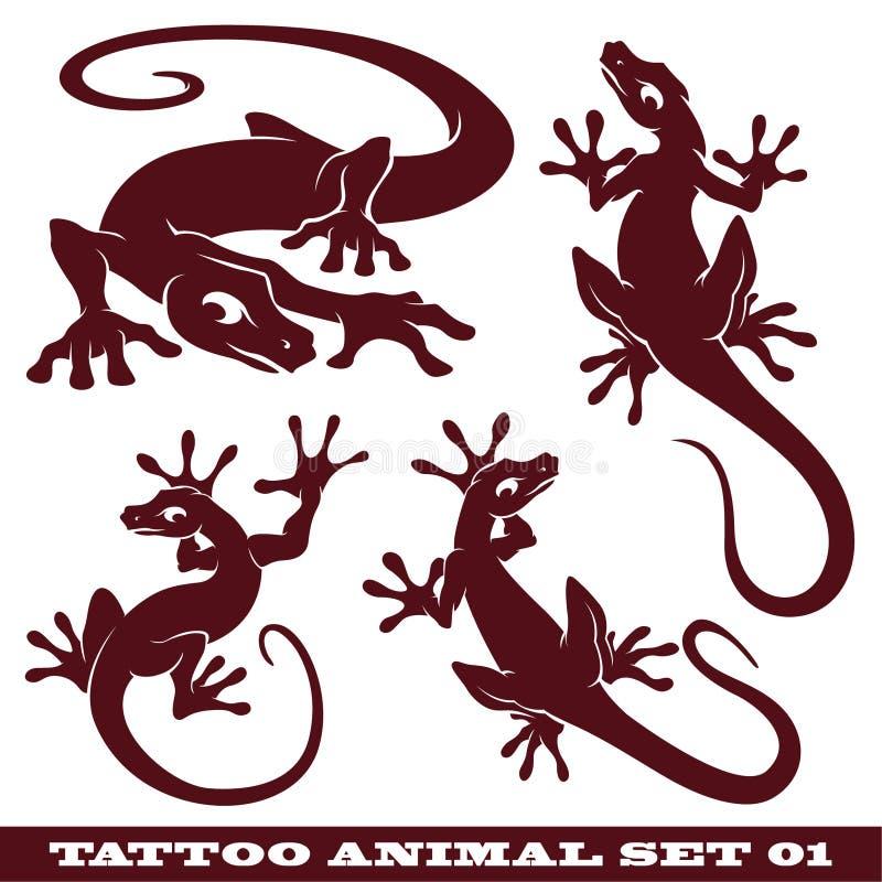 Tatuaje Gekko determinado stock de ilustración