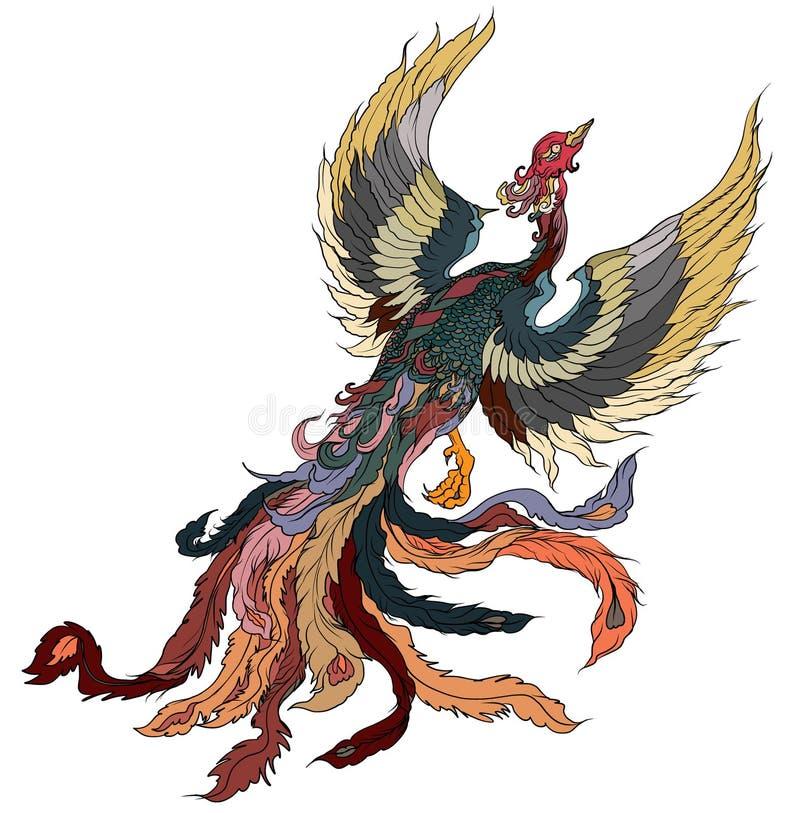 Tatuaje japonés del pavo real Diseño del tatuaje del pájaro del fuego de Phoenix del asiático Ejemplo de libro colorido de colora stock de ilustración