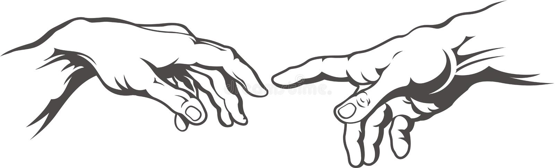 Tatuaje mano a mano Creación de Adán Pintura del fresco de Miguel Ángel libre illustration