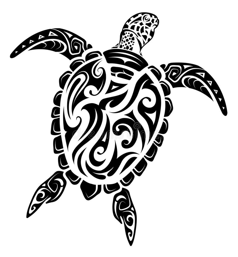 Tatuaje maorí de la tortuga del estilo libre illustration