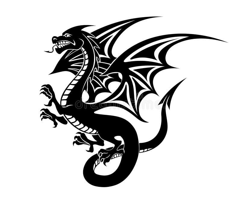 Tatuaje negro del dragón libre illustration