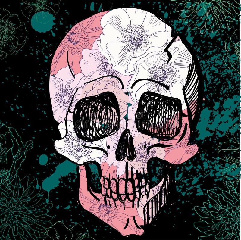 Tatuaje negro Sugar Skull Illustration del vector stock de ilustración