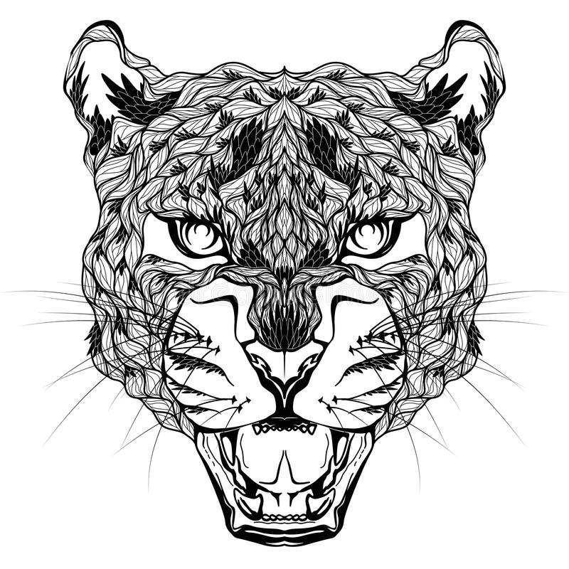 Tatuaje principal del LEOPARDO psychedelic stock de ilustración