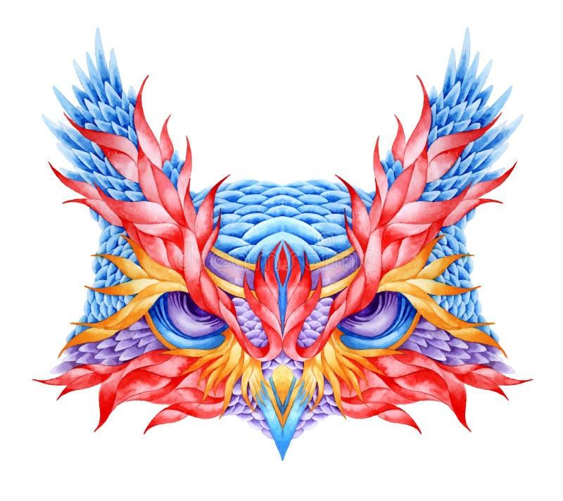 Tatuaje psicodélico de la cabeza del búho ilustración del vector
