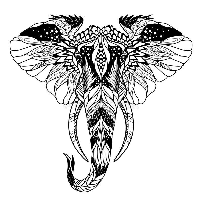 Tatuaje psicodélico de la cabeza del elefante Tatuaje psicodélico de la cabeza del elefante ilustración del vector