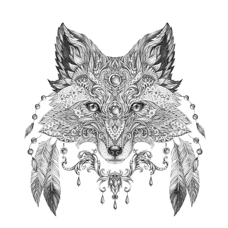 Tatuaje, retrato de un zorro salvaje libre illustration