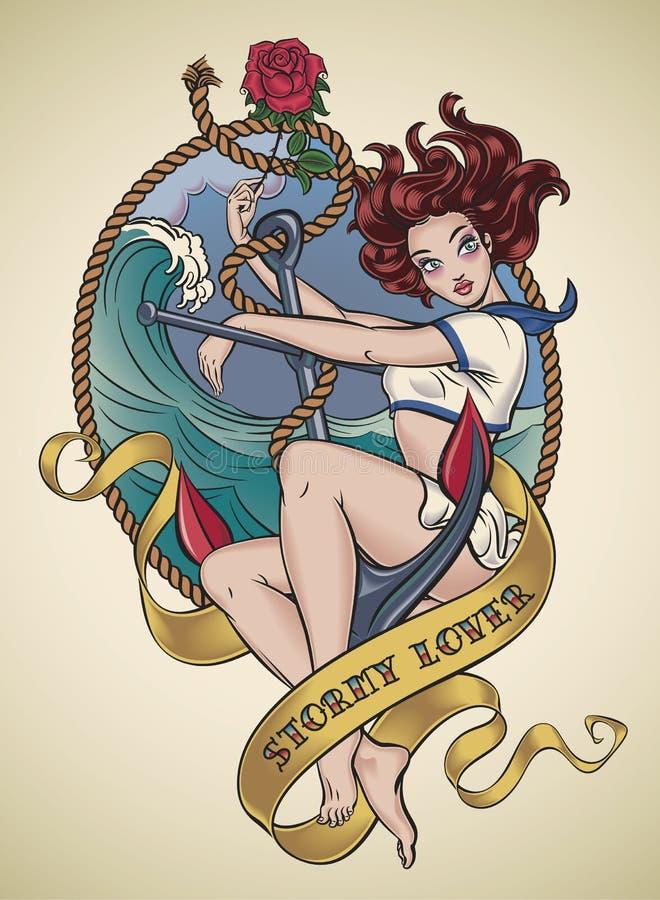 Tatuaje romántico de la viejo-escuela - amante tempestuoso stock de ilustración